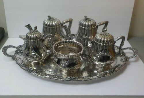 AMERICAN COIN SILVER 5-PC TEA SET, MATCHING S/PLATE TRAY, BOSTON, c. MID-1800's