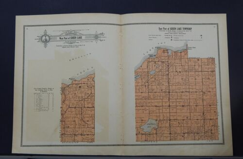 Wisconsin Green Lake County Map 1914 Township of Green Lake Double Page Z1#42
