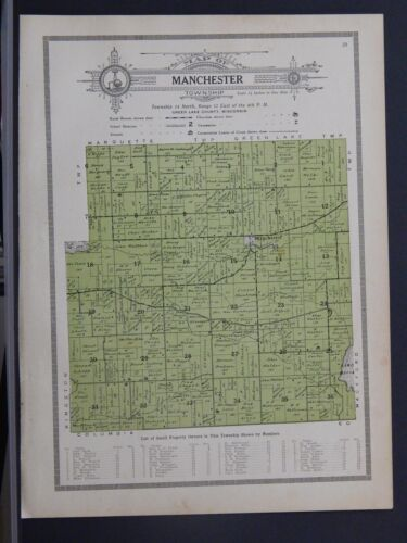 Wisconsin, Green Lake County Map, 1914 Township of Manchester Z1#44