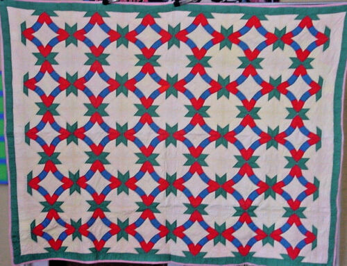 "ANTIQUE WEDDING RING QUILT UNUSUAL PATTERN  HAND PIECED HAND QUILTED 68"" by 52"""