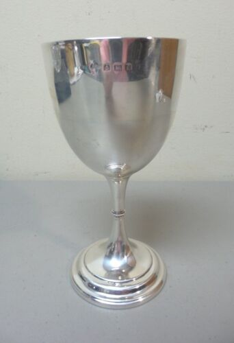ANTIQUE ENGLISH STERLING SILVER CHALICE / GOBLET, BIRMINGHAM, c. 1905, 160 gram