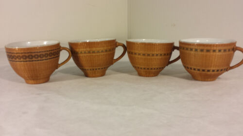 RARE Beautiful Chinese Antique porcelain tea cups woven Pine Needle MUST SEE
