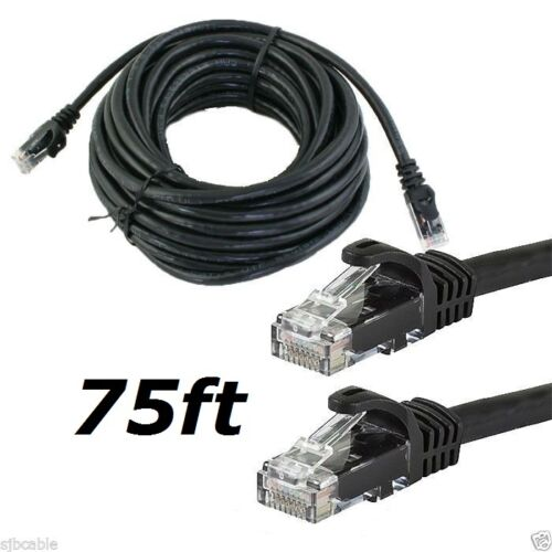 CAT6 CAT6 75FT feet BLACK RJ45 Ethernet LAN Network Cable Patch Cord For Router