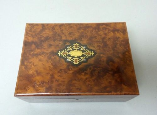 ANTIQUE NAPOLEON III FRENCH BURL WOOD SEWING BOX, BRASS & MOP INLAY ON TOP