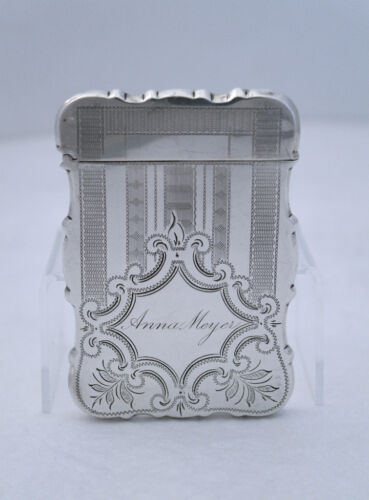 1860s Engraved Brightcut Engine Turned Coin Silver Card Case PERFECT FOR EVENING