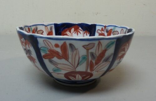 "WONDERFUL 19th C. ANTIQUE JAPANESE ARITA IMARI 5.25"" DEEP BOWL, SCALLOPED RIM"