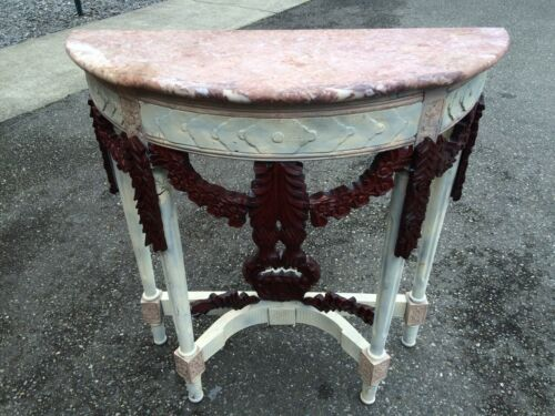 Vintage French Side Table Ornate  Carved Pink Marble White Antique Unique Entry