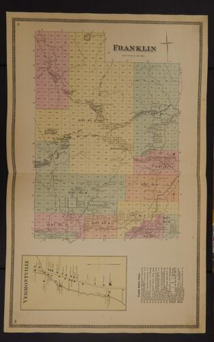 New York Franklin County Map 1876 Town of Franklin Z2#28