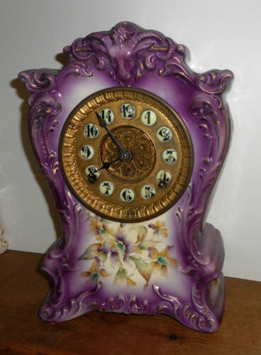 ANTIQUE ANSONIA NEW YORK 8DAY PORCELAIN CHINA CHIME CLOCK WORKING MAUVE