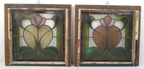 Pair of Vintage Antique Stained Glass Windows (2778)NJ