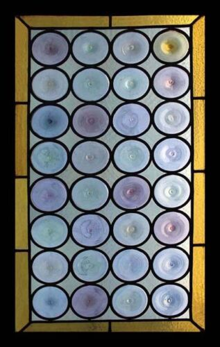 Fantastic Rondels Antique French Stained Glass Window