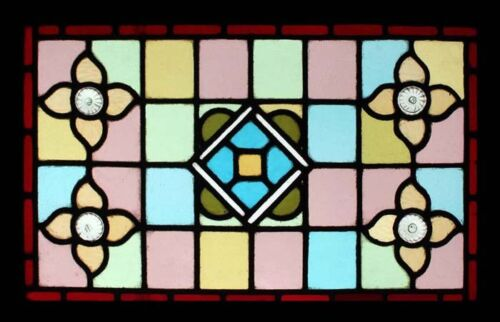 Pretty Victorian Engish Stained Glass Window Adorned With Faceted Rondels