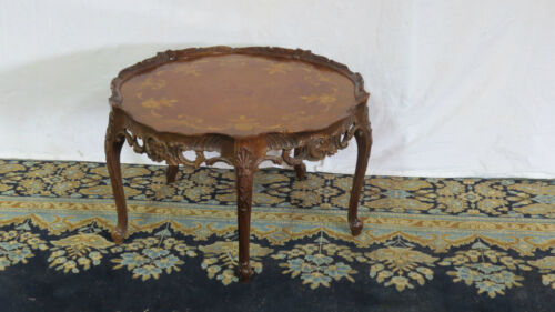 French Inlaid Floral Coffee Table Walnut Antique