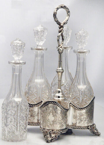 RARE One-of-a-kind LINCOLN FOSS DECANTER STAND FOUR BOTTLES COIN SILVER, 1850