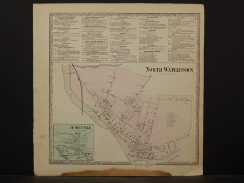 New York, Jefferson County Map, 1864 North Watertown, Juhelville N4#32