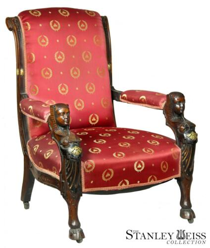 SWC-A Carved Mahogany Egyptian Revival Armchair