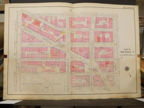New York Manhattan Map 1914 Amsterdam to 8th Lincoln School Roosevelt Sq. R3#71