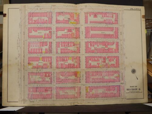 New York Manhattan Map, 1914 Park Ave to 2nd St. 110th to 116th R3#91