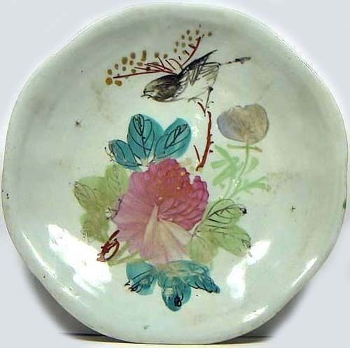 LG 16-18thC Antique China Hand Painted Ming Style Famille Rose Porcelain Plate
