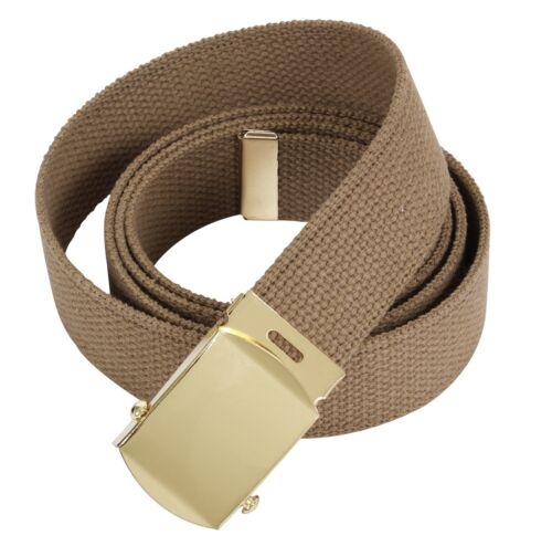 BELT COYOTE CANVAS WEB MILITARY ARMY MARINE ALLOY BRASS FINISH BUCKLE M1 w P38Army - 66529
