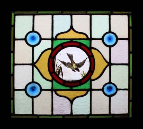 Stunning Painted Bird In Flight Antique English Stained Glass Window