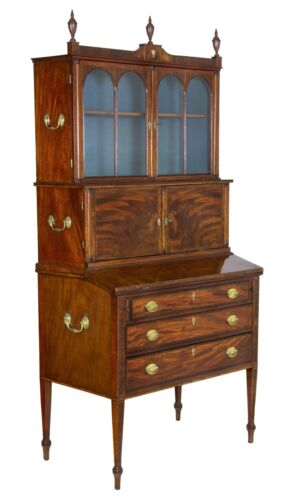 SWC-Fine Mahogany Inlaid Federal / Hepplewhite Secretary, Thomas Seymour, Boston