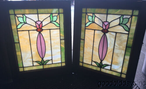 """Pair of Antique Stained Leaded Glass Windows From Chicago 25"""" by 20"""" Circa 1915"""