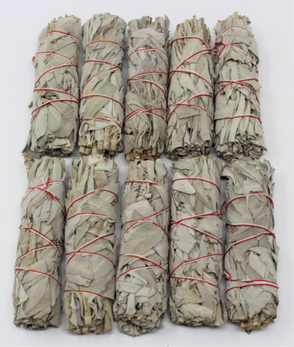 """Lot 10 White Sage Smudge Stick 4"""" to 5"""" Wands House Cleansing Negativity Removal"""