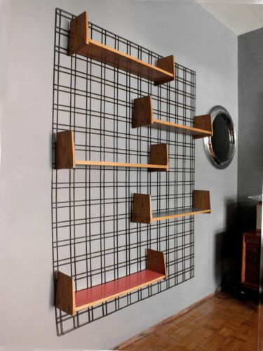 Gio Ponti design in years '50  wall mounted bookcase by PFR studio