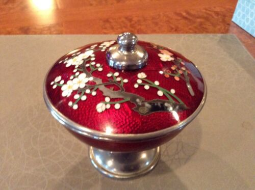 CLOISONNE GINBARI PIGEON BLOOD RED -ENAMEL BAMBOO COVERED DISH