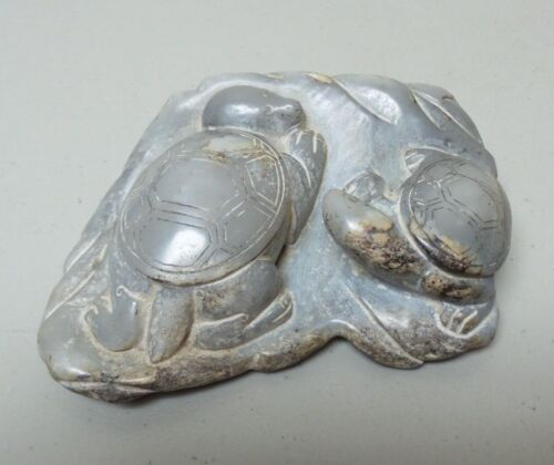 """ANTIQUE CHINESE CARVED HARD STONE 5.5"""" SCULPTURE, PAIR TURTLES"""
