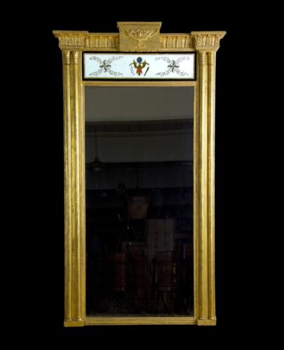 SWC-Monumental Gilt Pier Mirror with Reverse Painted Eagle Tablet, c.1800