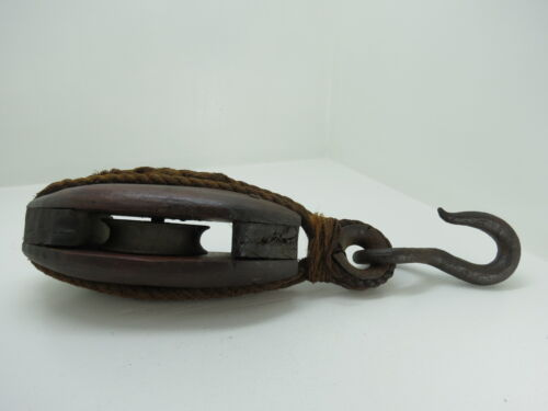 3 INCH LARGE WOOD & STEEL PULLEY BLOCK AND TACKLE SAIL BOAT (C4C202)