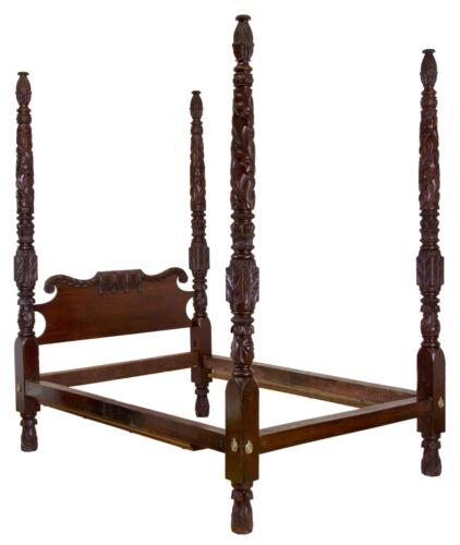 SWC-Magnificent Highly Carved Classical Mahogany 4-Post Bed, Massachusetts, 1820