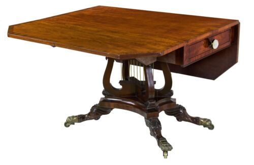 SWC-Classical Mahogany Drop Leaf Table with Crossed Lyres, Philadelphia, c.1820