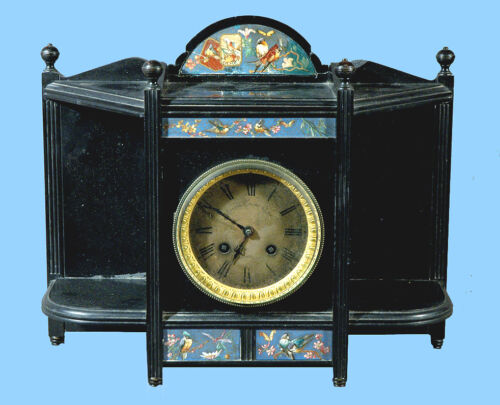 ASTHETIC MOVEMENT EXPENSIVE MARBLE  LONGWY TILES CLOCK BY SHREVE CRUMP & LOW