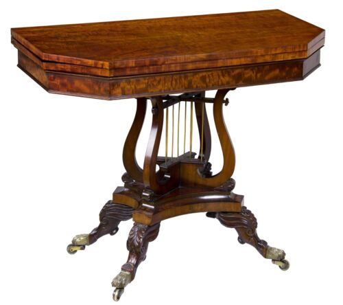 A Fine Classical Mahogany Card/Games Table with Crossed Lyres ,Philadelphia, PA