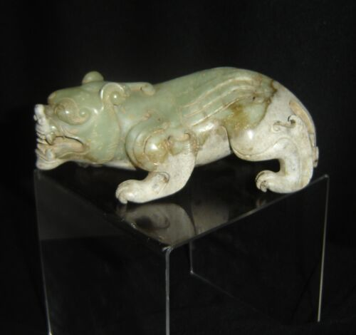 Antique Chinese Qing Dynasty Green Jade Carved Panther Lion Beast Sculpture.