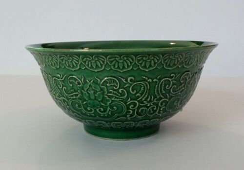 "LOVELY CHINESE GREEN GLAZED MONOCHROME RELIEF DECORATED 6"" BOWL, MARKED"