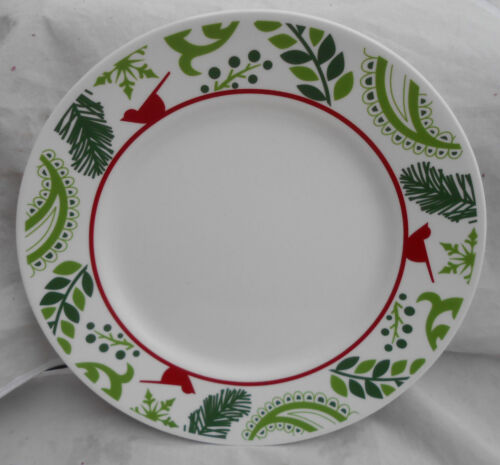 """4 CORELLE BIRDS & BOUGHS HOLIDAY CARDINAL PLATE S DINNER 10 3/4"""" WINTER RED NEW"""