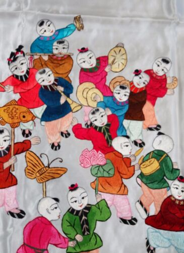 Handwoven Silk Chinese Embroidery - 100 Boys (200 cm x 91 cm) #1