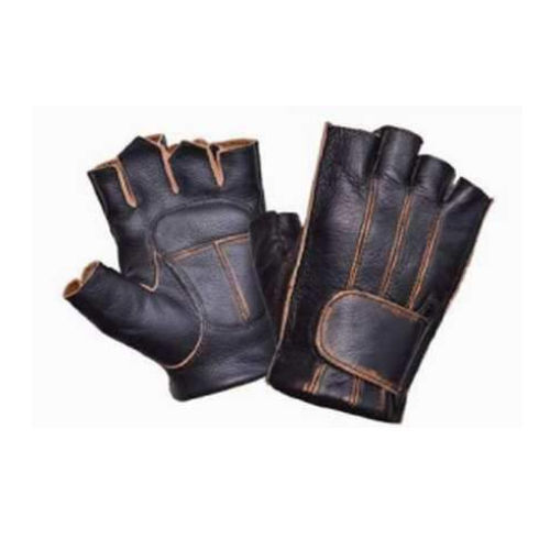 Mens Distressed Brown Leather Fingerless Motorcycle Riding Gloves Gel pad Biker