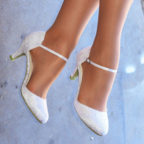 LADIES WHITE IVORY LACE EMBELLISHED LOW HEEL ANKLE STRAP WEDDING SHOES SIZE 3-9