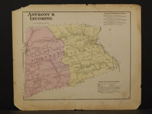 Pennsylvania, Lycoming County Map, 1873  Township of Anthony & Lycoming  !Y2#48
