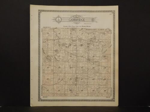 Michigan, Lenawee County Map, 1916 Township of Cambridge L3#13