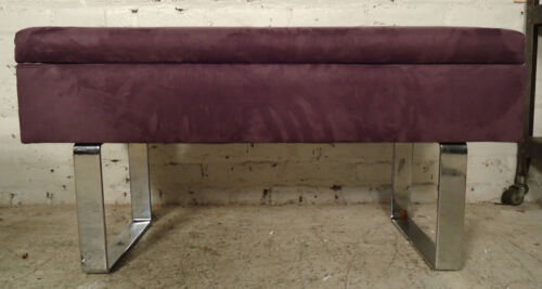 Purple Suede Milo Baughman Storage Bench (4278)NS