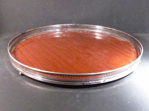 """FISHER MAHOGANY TRAY WITH STERLING RIM  12"""""""
