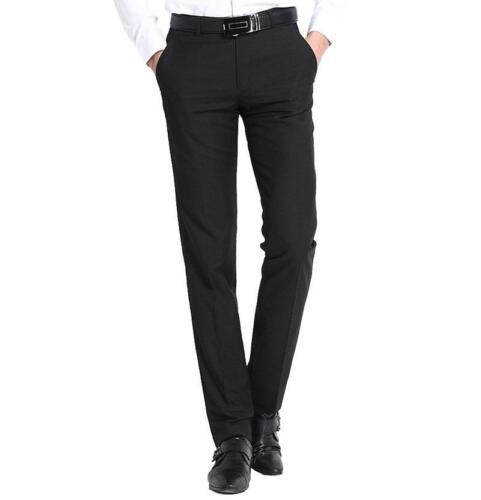 New TM Exposure Mens Black Formal Slim Fit Flat Front Slacks Trouser Dress Pants