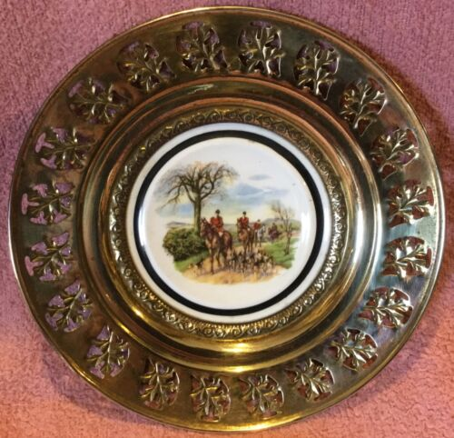 Fox Hunt Hunting Brass and Porcelain Regency Wall Hanging Plate #2