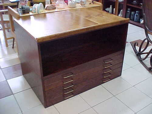 VINTAGE MAP CHEST, FLAT FILE AND SHELF